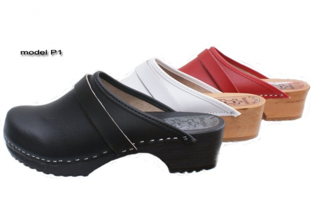 Women Hand Made Clog Wooden-sole, genuine leather P1