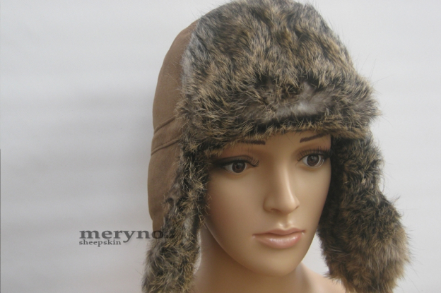 Women Genuine Sheepskin Hat With Fur, Aviator Trapper