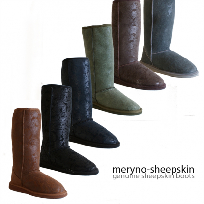 Sheepskin Boots Genuine Winter Shoes Design Flower Meryno