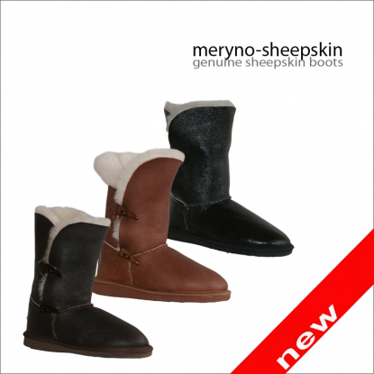 Short Bayley Button sheepskin boots printed black exlusive