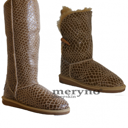 Sheepskin Boots Genuine Winter Shoes Design Crocodile