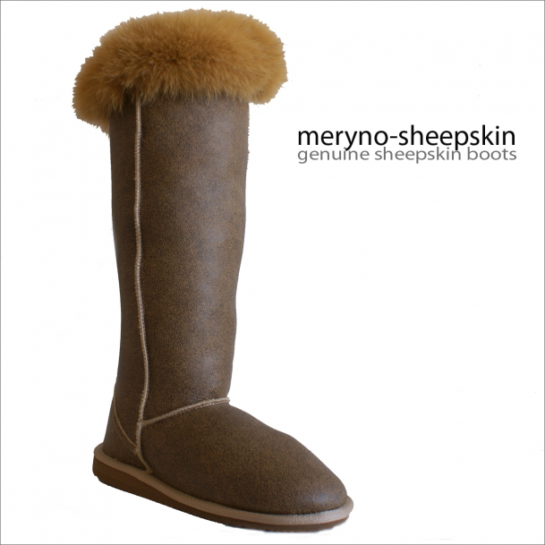 Long Sheepskin Boots Genuine Shoes Fox Fur  Meryno