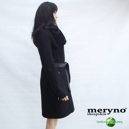 Black Sheepskin Coat, Shearling  Genuine Amazing  NEW MODEL !
