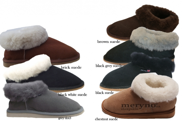 Women Sheepskin Slippers Genuine Chestnut Suede Super soft Merino