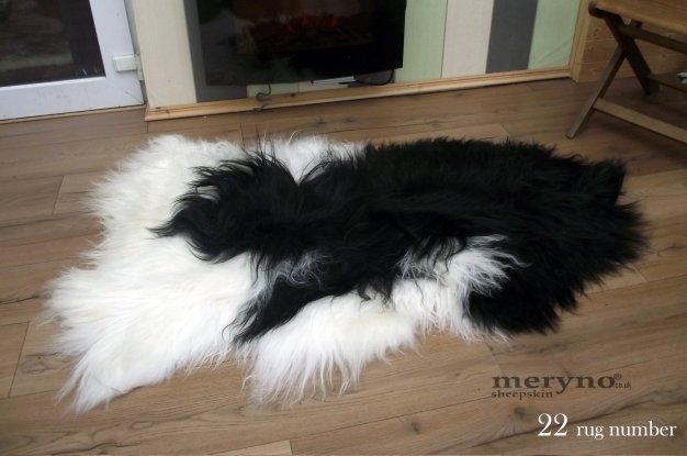 Genuine Icelandic Sheepskin Rug WHITE-BLACK Soft Wool
