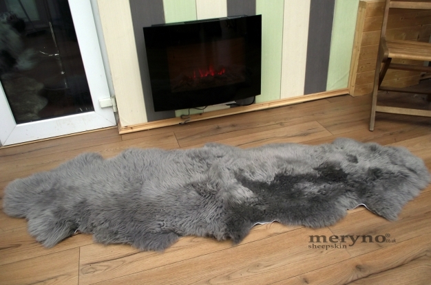 grey double sheepskin rug genuine amazing soft wool