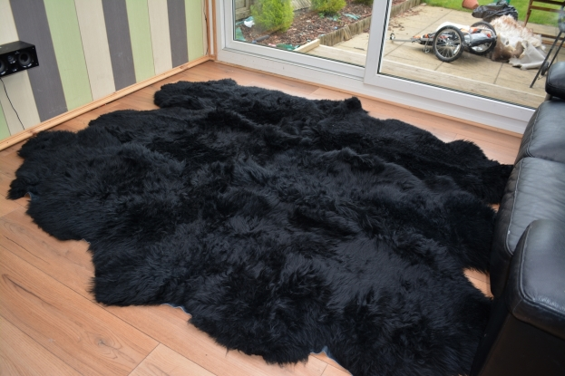 Black sexto 6 sheepskin rug carpet natural shape fur