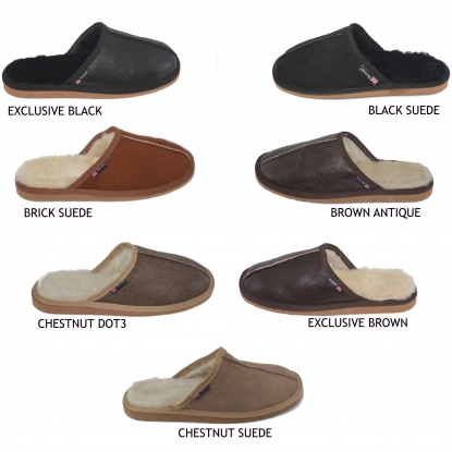 Mens sheepskin pantoufles authentiques mules naturelles