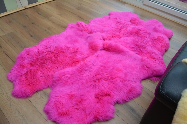 Pink quad  sheepskin rug genuine amazing soft wool