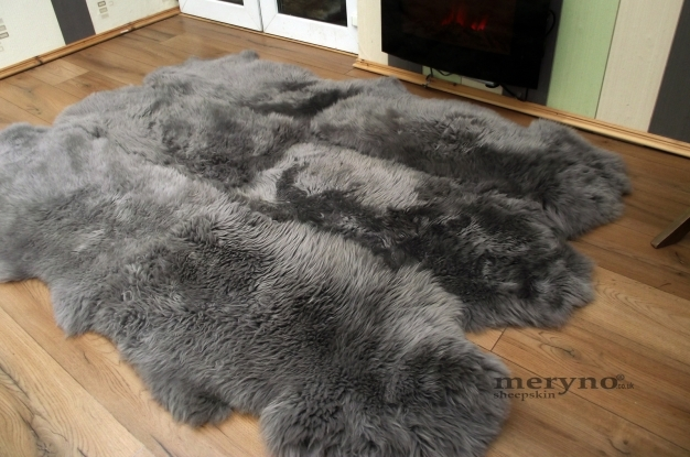 Grey sexto 6 sheepskin rug genuine soft wool