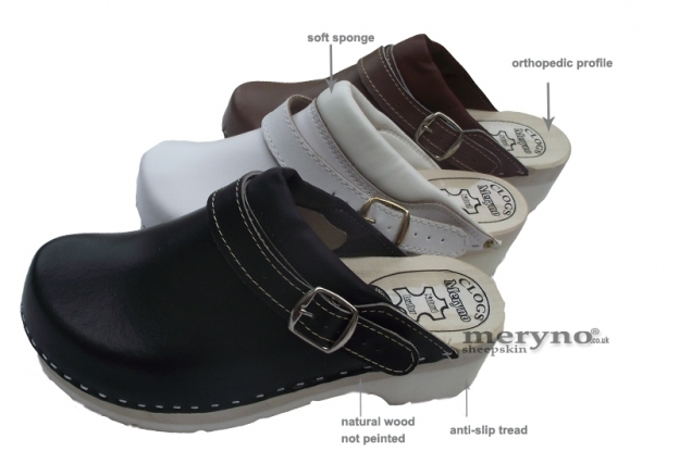 Women Shoes Clogs doctor nurses leather FPU10P