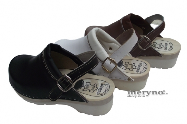 Women Shoes Clog rec. doctors,nurses, real leather FPU10P