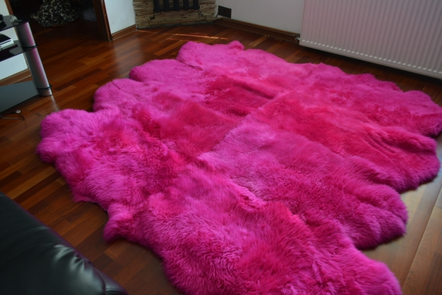 Pink octo sheepskin rug carpet natural soft wool