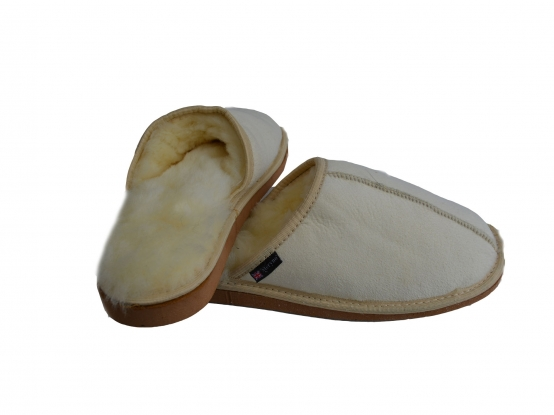 Mens medical sheepskin slippers genuine mules natural warm