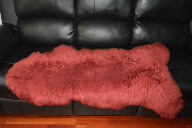 Marron prune Sheepskin Rug Real, tapis laine incroyable