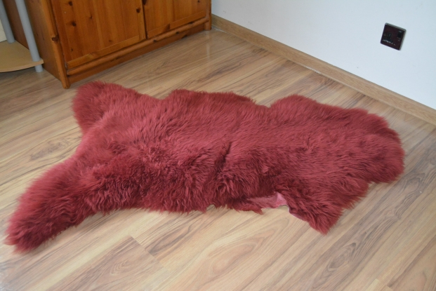 Maroon plum Sheepskin Rug Real, Carpet Amazing  Wool