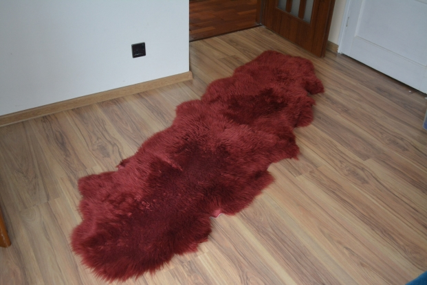Maroon plum Double Sheepskin Rug Real Carpet Nice  Wool