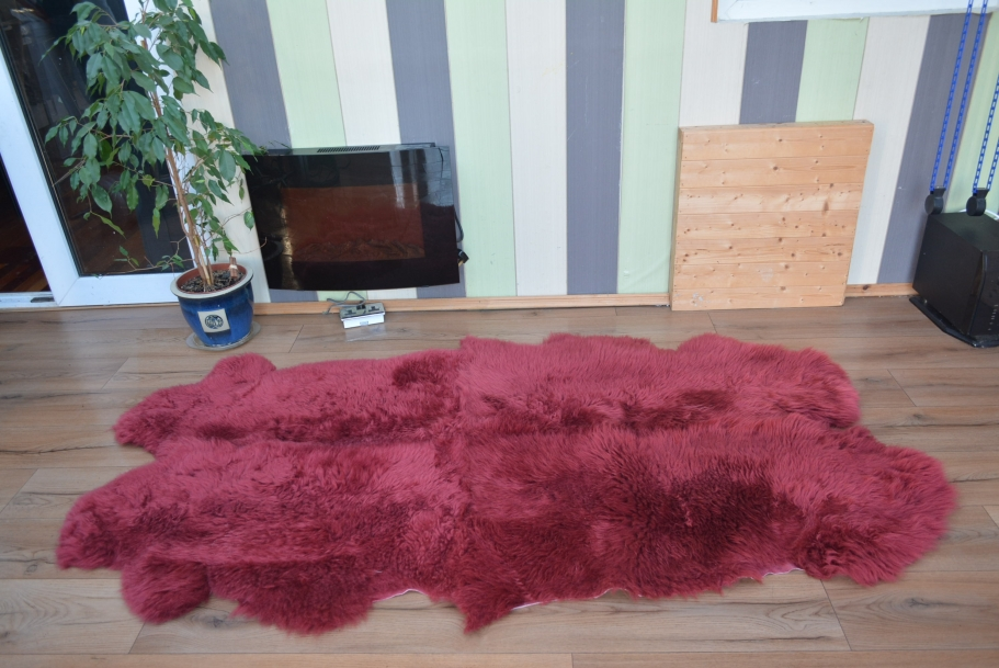 Maroon, plum quad sheepskin rug genuine amazing soft wool
