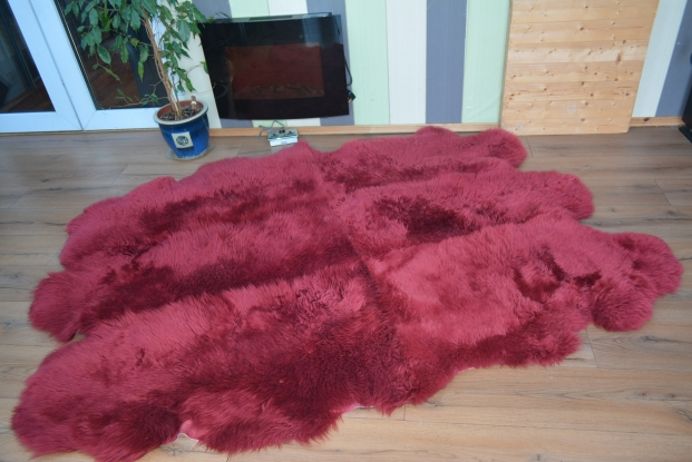 Maroon sexto sheepskin rug carpet natural shape fur
