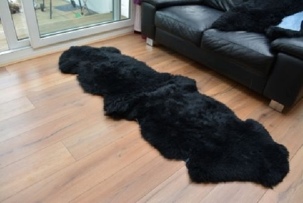 Black double sheepskin rug carpet natural soft wool fur