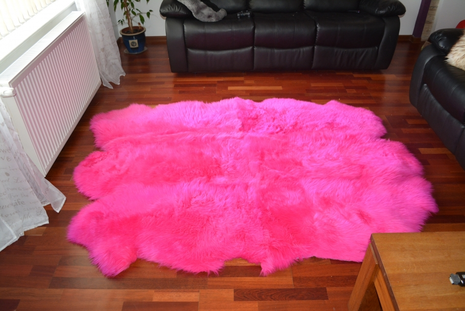 Rose en peau de mouton sexto 6 tapis authentique 100 % naturel