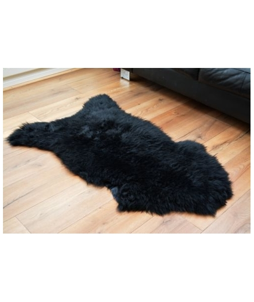 Black sheepskin rug carpet natural soft wool luxury