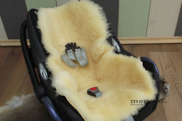 sheepskin pushchair Pram Car Seat  Natural  Medical white