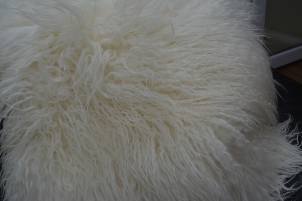 Icelandic double curly mongolian sheepskin rug white wool
