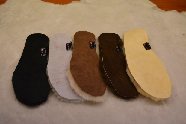 Sheepskin insoles genuine black, white, brown real soft wool women men