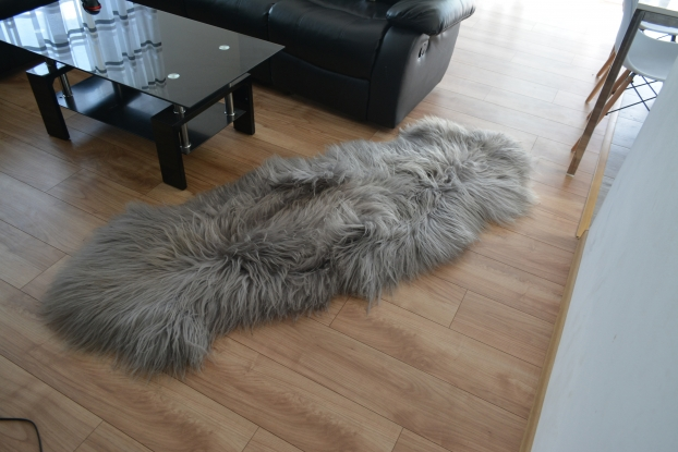 Grey Icelandic Sheepskin Carpet  Double Rug Genuine Natural