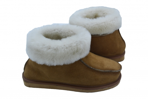 Chestnut Women sheepskin slippers real fluffy OLIVIA natural Black, Grey, Brown