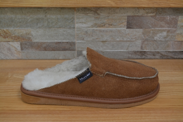 Real sheepskin slippers genuine women's, men's slip on hand made suede pattern