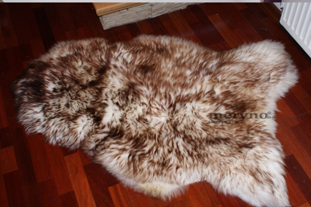 brown-white sheepskin rug