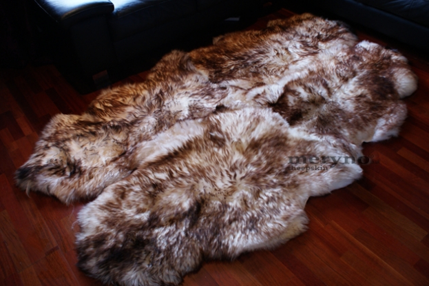 mufflon white-brown sheepskin rug