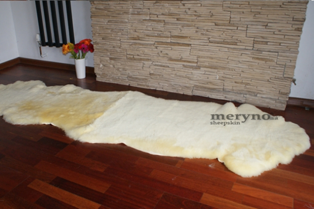 Medical double sheepskin rug natural yellow wool