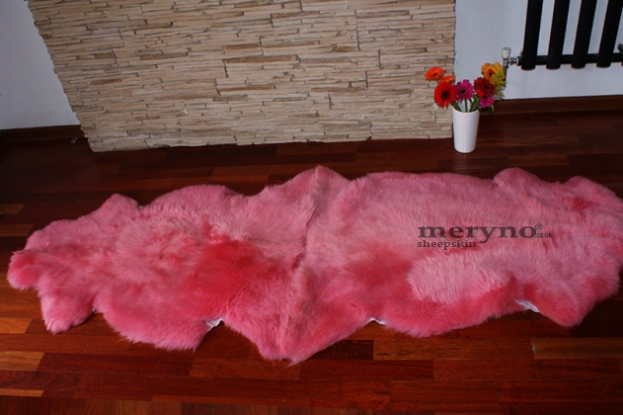 Pink double sheepskin rug 100% real soft wool