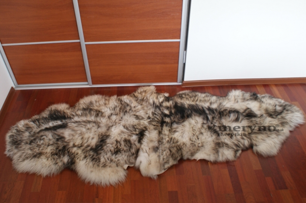 White black double sheepskin genuine natural soft wool