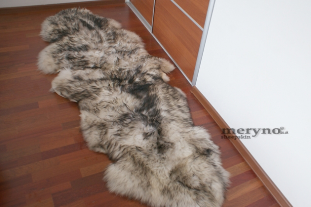 white-black sheepskin rug