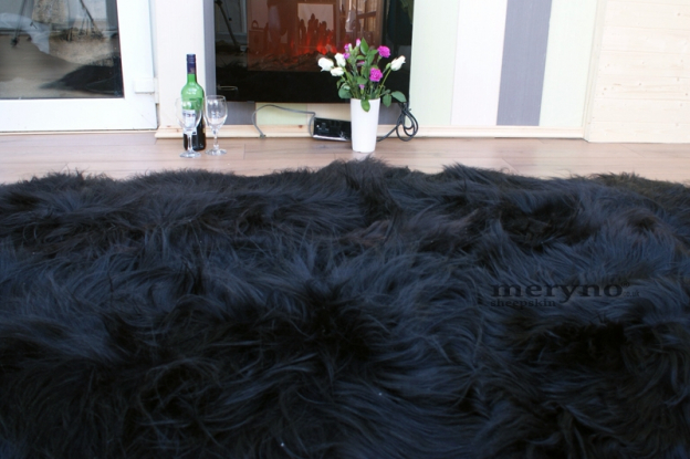 Icelandic Black Quad Sheepskin Rug, Carpet