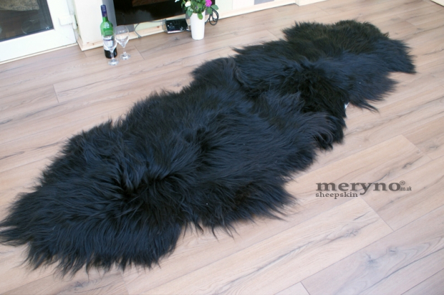 Icelandic Sheepskin Double Rug Genuine Black, white