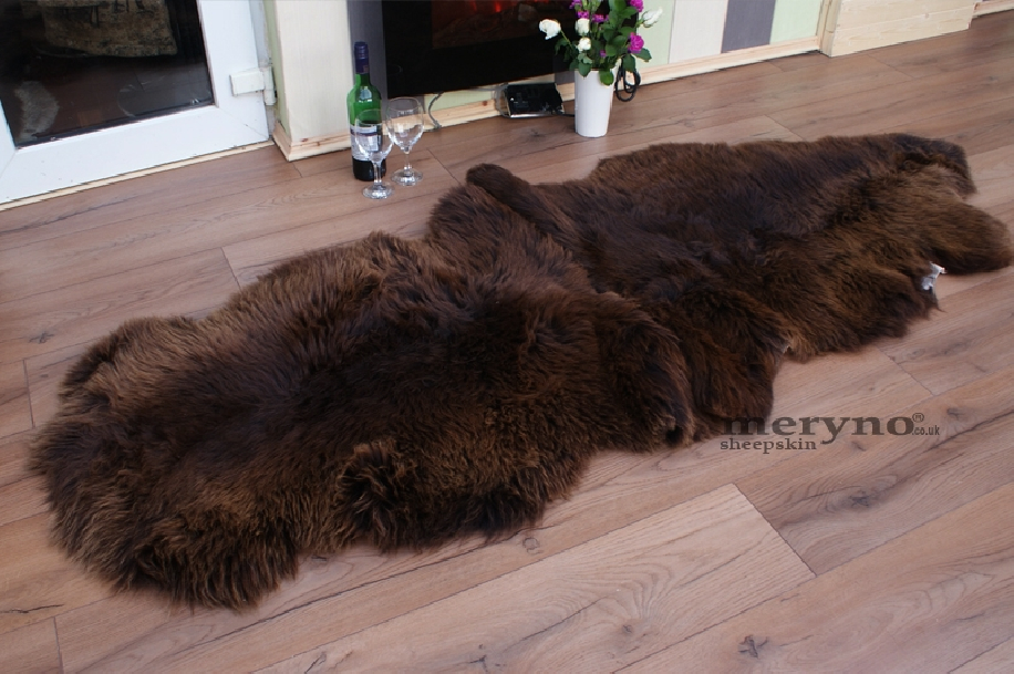 Brown Double Merino Sheepskin Rug Amazing Soft Wool