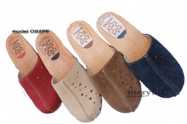 Women Clog Wooden-sole, genuine leather OS2PF suede
