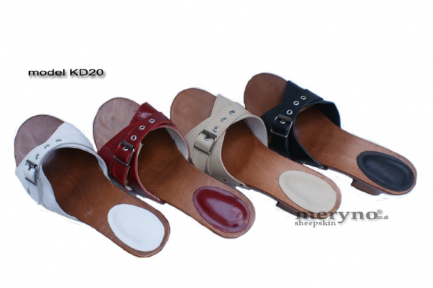 Ladies Heel Shoes Clogs Wooden-sole, genuine  leather KD20