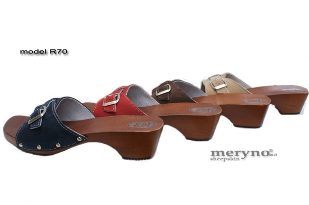 Ladies Shoes Clogs Wooden-sole, genuine Suede Leather R70