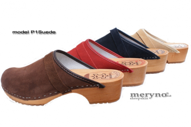 Women Clog Wooden-sole, genuine leather P1 suede