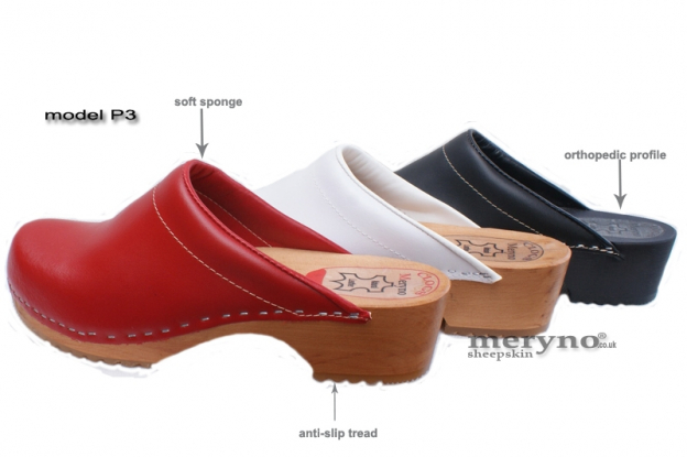 Ladies Clog Wooden-sole, genuine  leather, New Design  P3