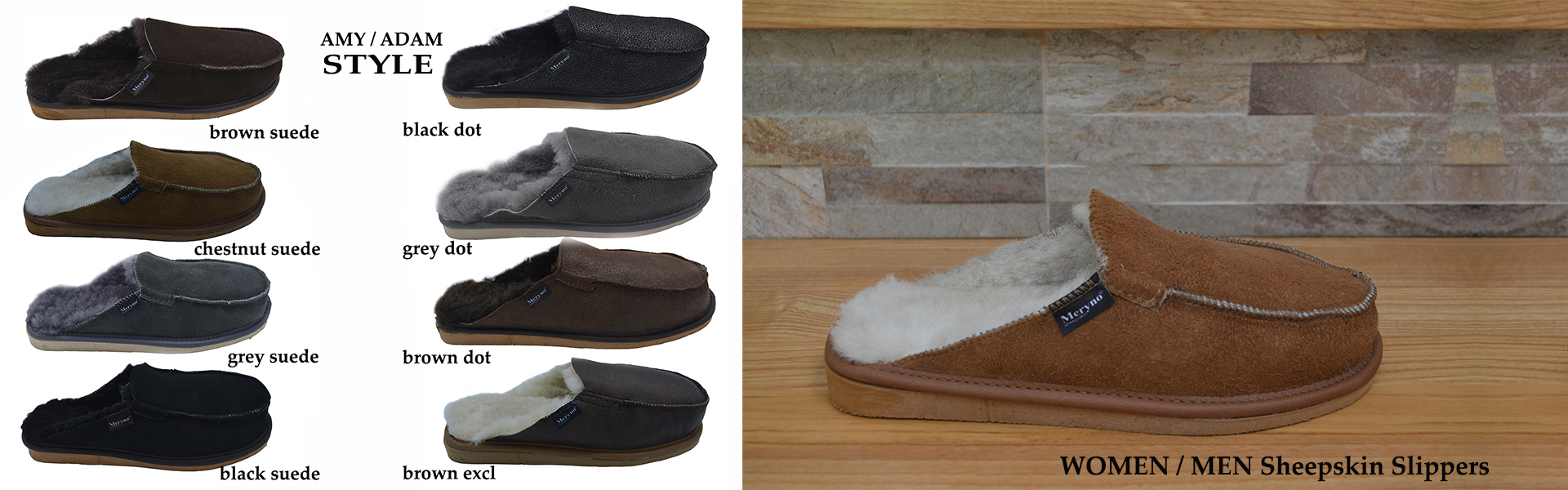 real sheepskin slippers women men black brown grey